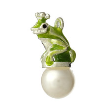 Charm Pendants Frog Silver Plated Enamel Grass Green Acrylic Pearl Imitation 22mm x13mm - 22mm x11mm