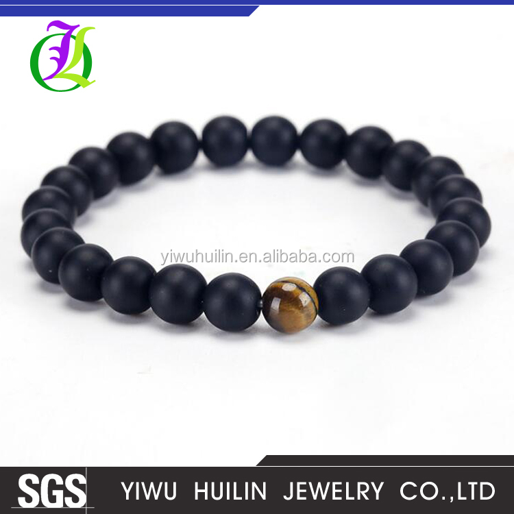 JTBR1034 Yiwu Huilin Jewelry Fashion tiger eye stone black beads white jade crystal agate jade yoga beads bracelet