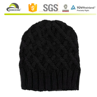 Winter Knitted Black Ski Mask Hat Knitting Pattern, Hand Knit Hat Patterns