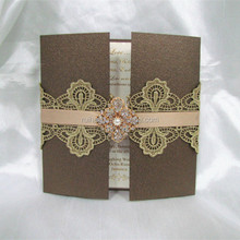 new design hardcover gatefold wedding invitation cards with lace & brooch