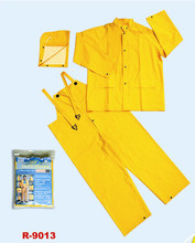 3pcs PVC yellow rainwear