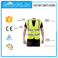 100% polyester Yellow High visibility reflective removable no sleeve vest