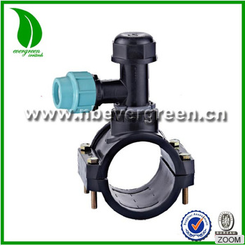 Pipe fittings system saddle clamps with cutter PP clamp saddle