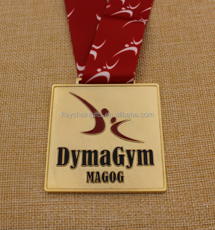 Customized cheap color filled sport medal grm gold medal with ribbon