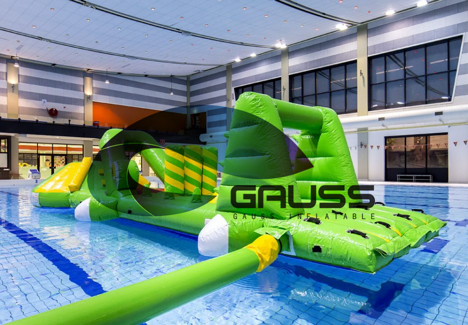 2017 new giant crocodile inflatable water games aqua run for sale