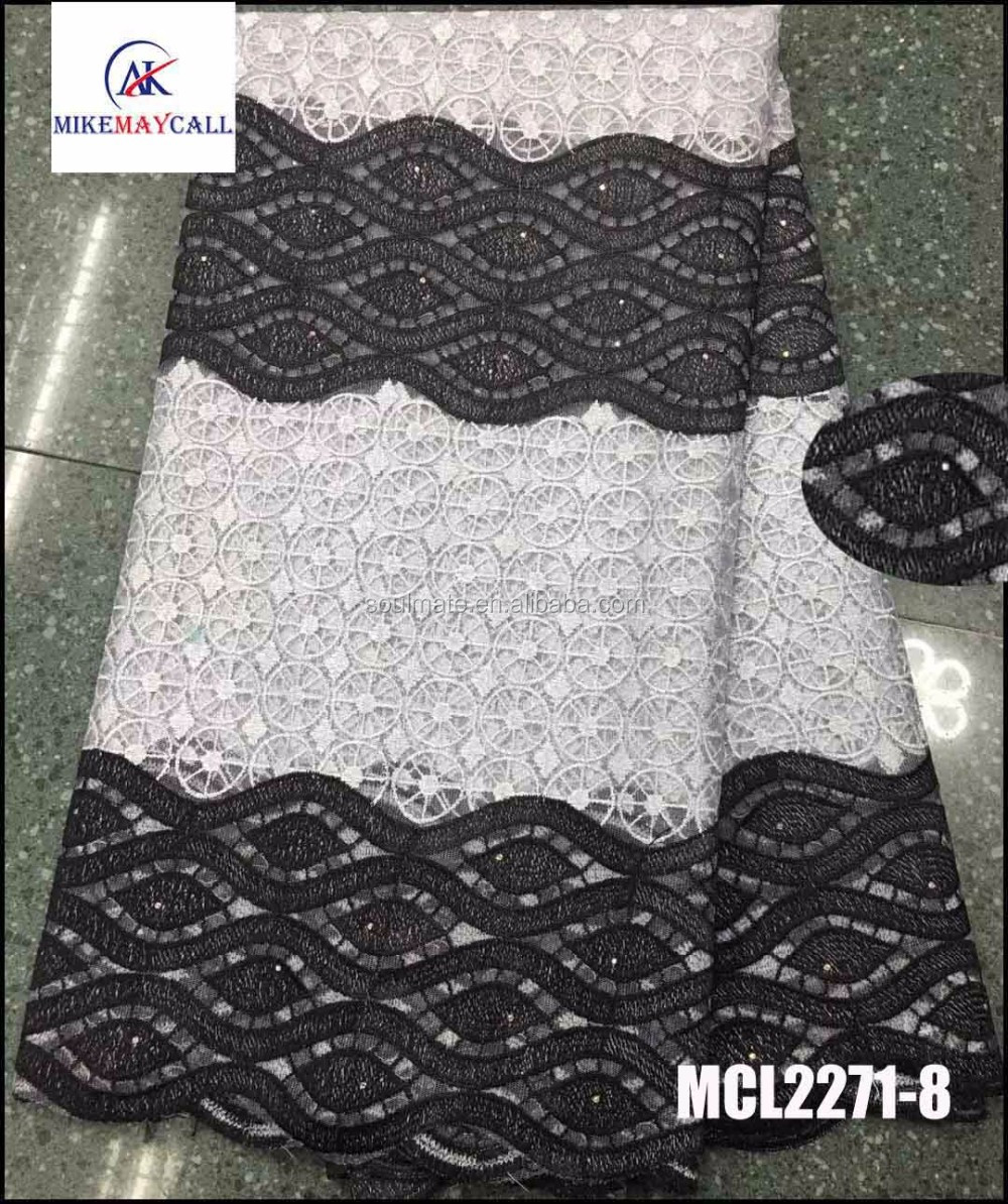 Ladies dress material wholesalers African net embroidery stones white and black cord lace fabric 2016