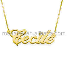 China manufacturer custom stainless steel jewelry 14k Gold and Diamond Name Chain Necklace letter necklace