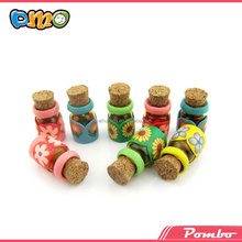 handicraft decal polymer clay bottle with cork mini aroma bottles