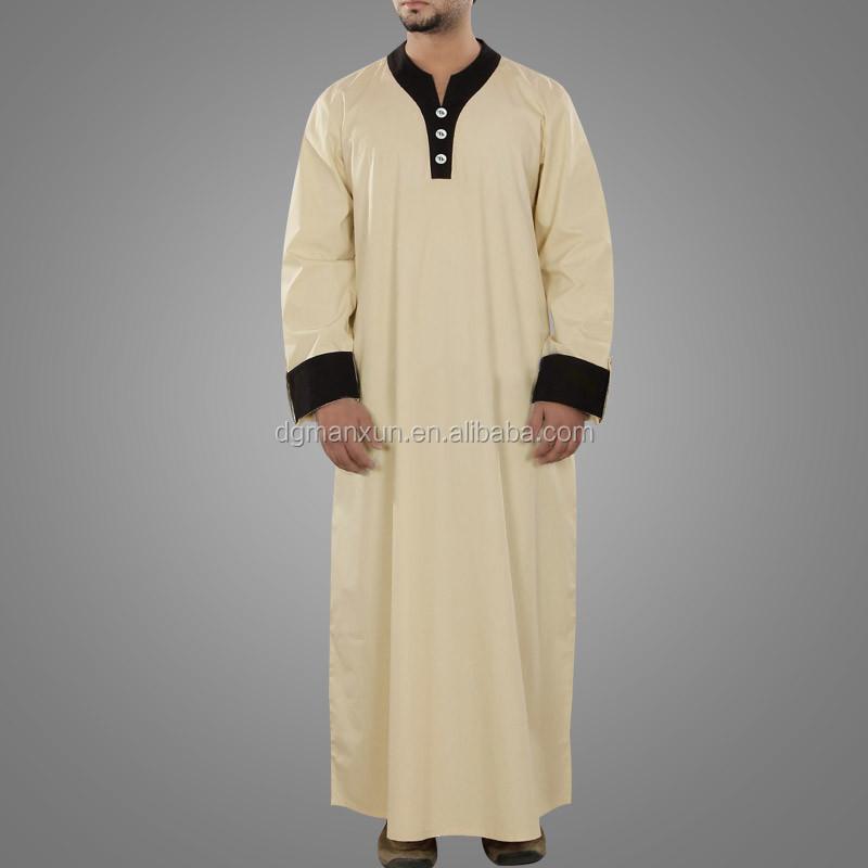 New Style Islamic Muslim Men  Daffah Thobe Simple Style Arabic Thobe (1).jpg