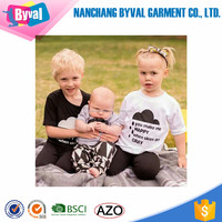 Baby kids soft 100% cotton printed shirts short sleeve o neck t shirts for children manufacturer in China