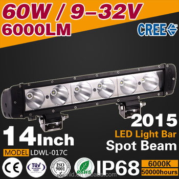 New car accessories 14inch 60W 6000lm 12/24V LED light bar offroad 4x4 led off road light bars for truck led spot light bar 4WD