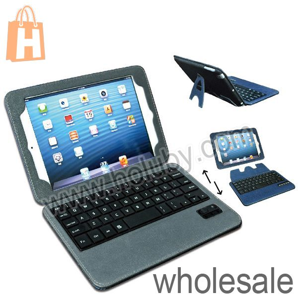 Magnetic Detachable Bluetooth 3.0 Keyboard Leather Case for iPad Mini, For iPad Mini Retina Keyboard Case with Bracket