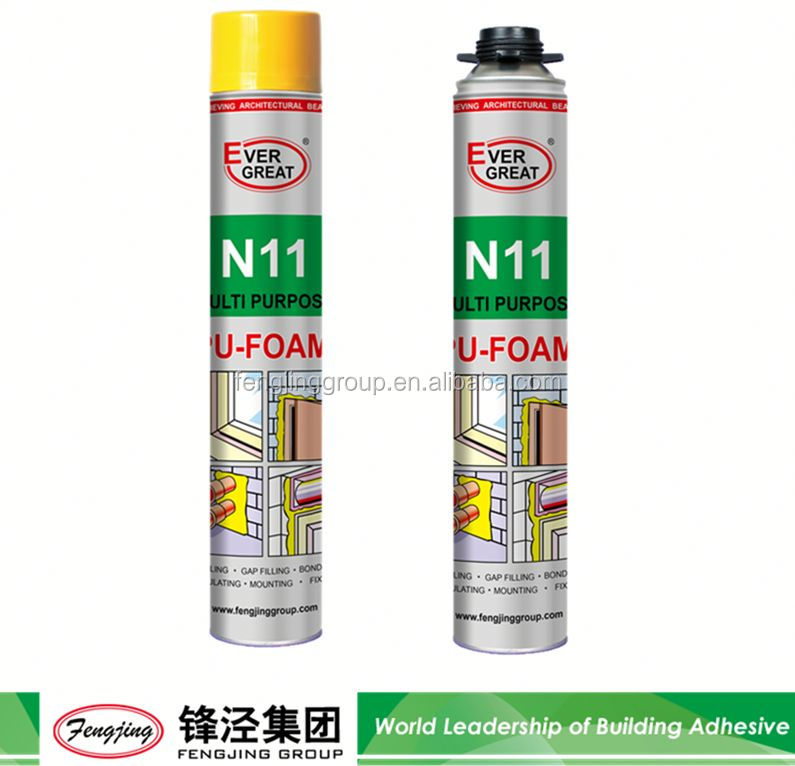 Factory Supply 500ml light yellow polyurethane expanding foam adhesive directly sale