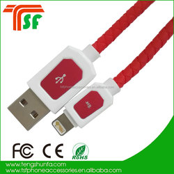 USB 2.0 cables,Cell Phone accessories Red Leather USB chargers cables for iphone