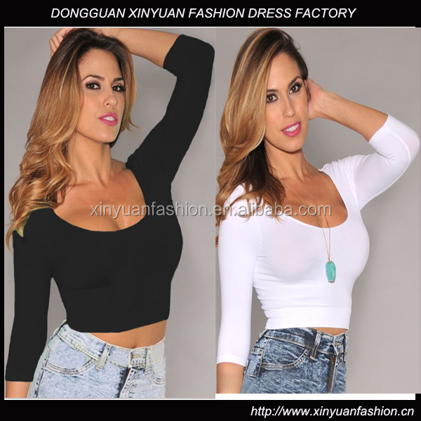 Women Apparel ladies sexy crop tops images Cotton Spandex customized color