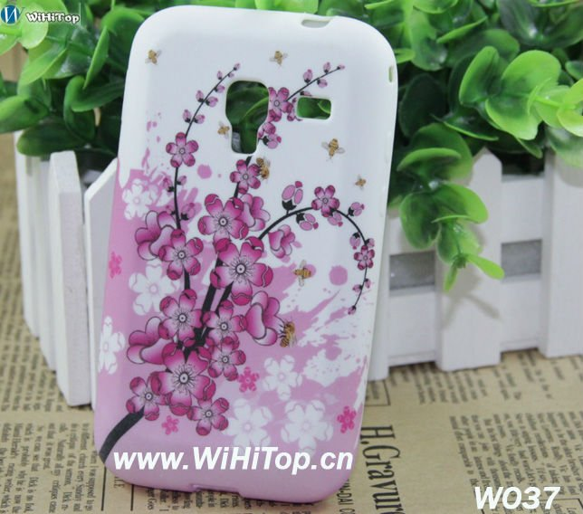 Blossom Flower Printing TPU Soft Case Skin Cover for Samsung Galaxy Ace Plus S7500 S7508