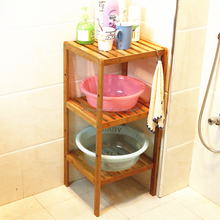 Supply Bamboo Bathroom Shower Floor Caddy 100% Bamboo Bathroom Shelf 3-Tier Multifunctional Storage Rack