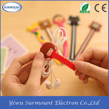 Cartoon Cable Holder Clip Retractable Cable Holder Silicone Headphones Cable Winder
