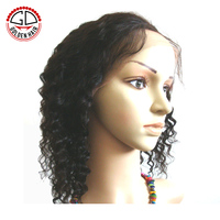Afro Curly Virgin Human Hair Cheap Short Lace Front Wigs