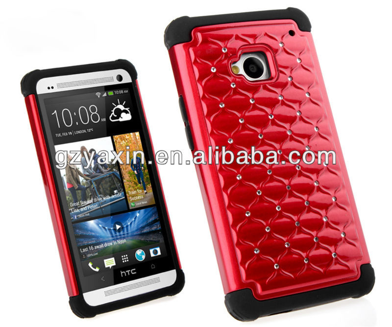 Shockproof triple red combo mobile phone case for HTC one m7