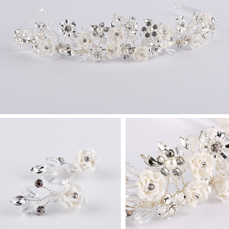 Bridal Headpieces Boho Delicate Crystal Porcelain Blossom Tiaras Crown Necklace Earrings Set Wedding Dress Jewelry Accessories