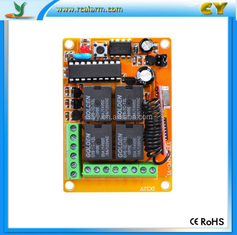 Universal 4 channel rf transmitter receiver circuit