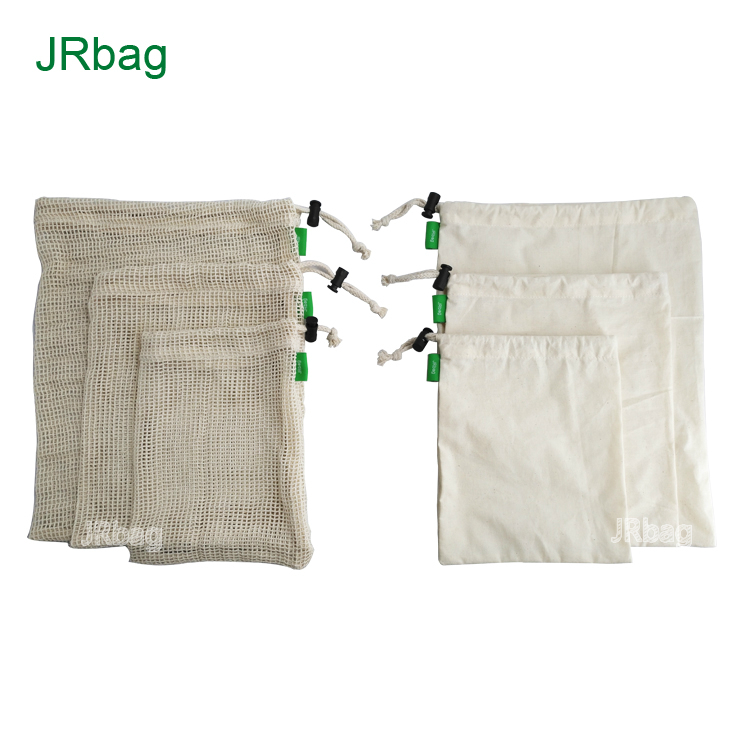 Factory Customized 3pcs Cotton Cooking Mesh Bags And 3pcs Cotton Net Bags For Produce Food Safe
