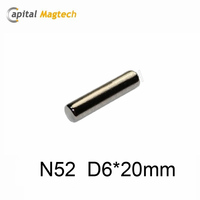 N52 Dia.6*20mm Strong Neodymium Ni Coating Cylindrical Sintered Cylindrical NdFeB Magnet