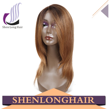 Color 27/30 Human Hair Wig For White Women Long Straight Lace Front Wig