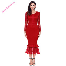Wholesale Hollow-out Long Sleeve Tight Lace Ruffle Bodycon Midi Dress
