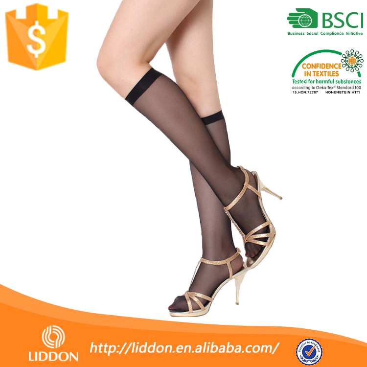 Women Quality No Heel Flesh Bow 100% Skin Color Transparent Sock,Wholesale Custom Silk Knee Thigh High Sock