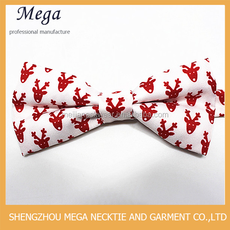 2017 new fashion red fawn pattern polyester bow tie for kids