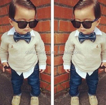 JPSKIRT1505443 2015 wholesale fashion summer hot sale new European cotton tie bear shirt+jeans trousers baby boys clothes set