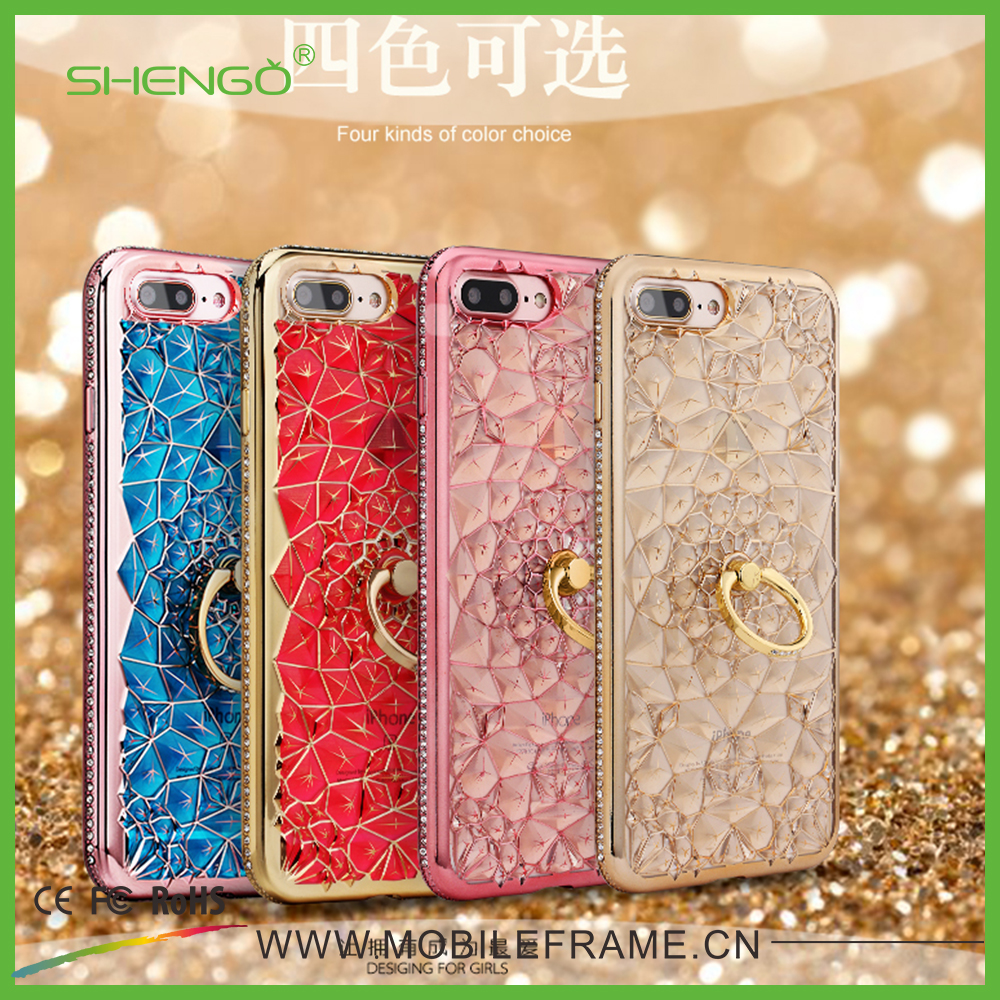 Fashionable High Quality 3D Crystal Back Cover Electroplating Wrist Mobile Phone Case with Ring Stand