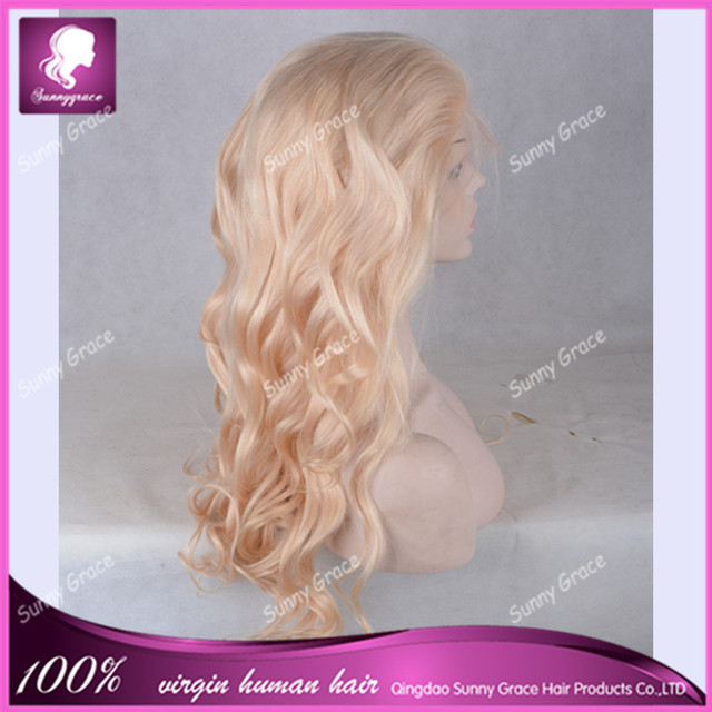 Charming wavy Dirty Blonde Color Full Lace Pure Virgin Peruvian Human Real Hair Wig