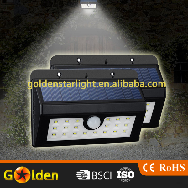 20 LEDs Solar Powerd Motion Sensor Light Outdoor Wall/Garden Outside Lamp