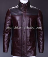 2015 New Style High Quality Latest Mid-Length Leather Coat For Men