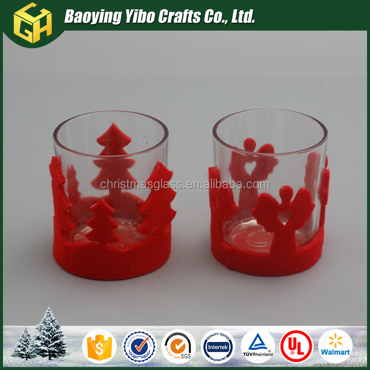 Clear glass votive candle holder with red for 2017 Wholesale