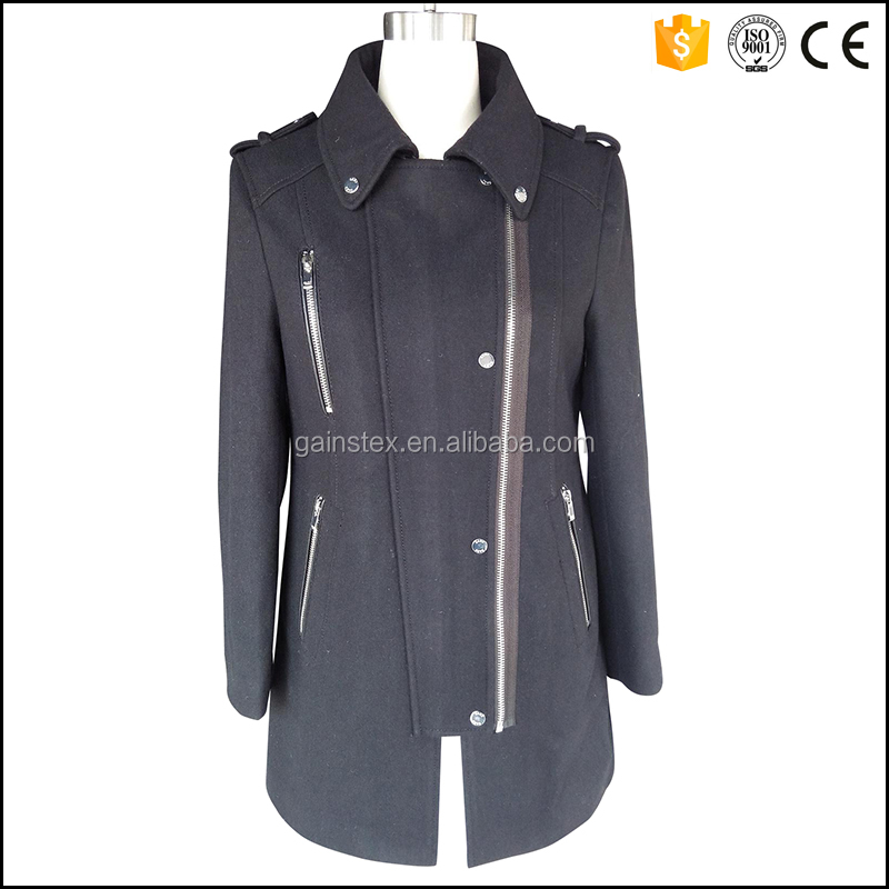2016 new design ladies coat winter jacket women with military decoration