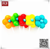 Flower Shaped fruit flavour hard candy lollipop