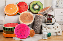 Soft Short Plush Watermelon Pillow 3D Fruit Pillow Cushion For Home Car Decoration