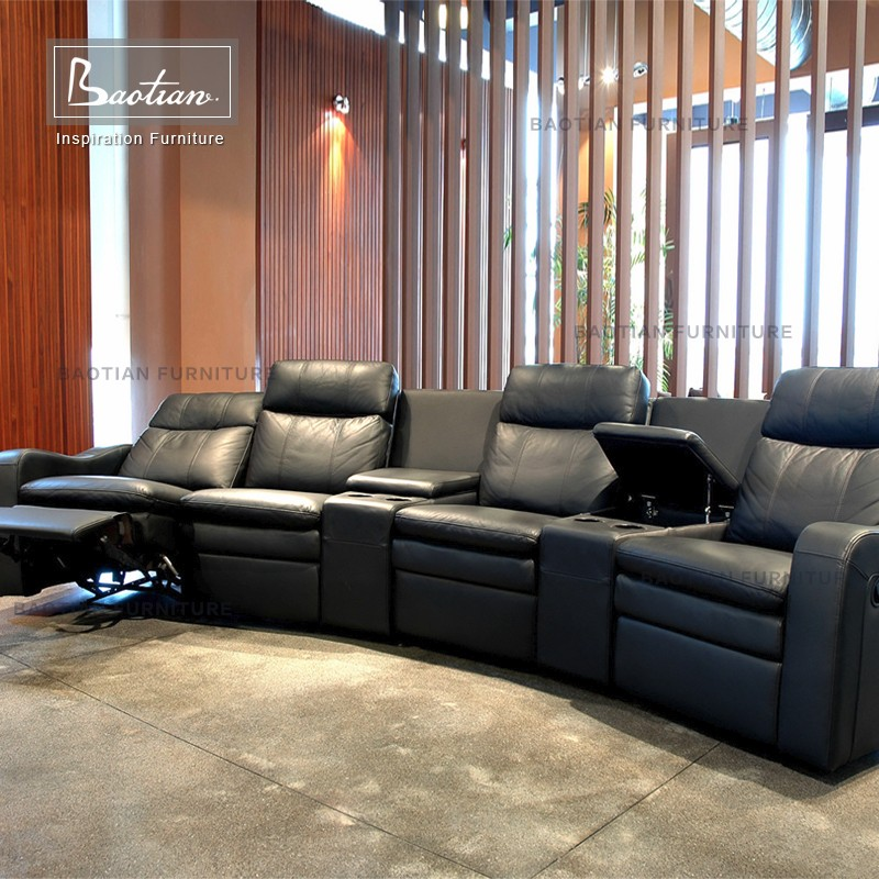 Modern living room leather recliner lazy boy sectional sofa