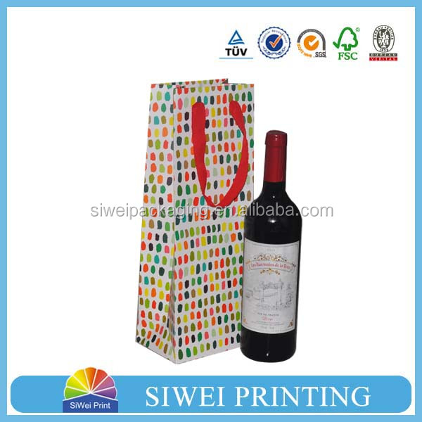 Customized Paper Wine Glass Gift Bag With Handels For glass bottle
