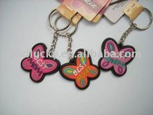 Color Butterflies dance promotional gifts soft pvc keychain