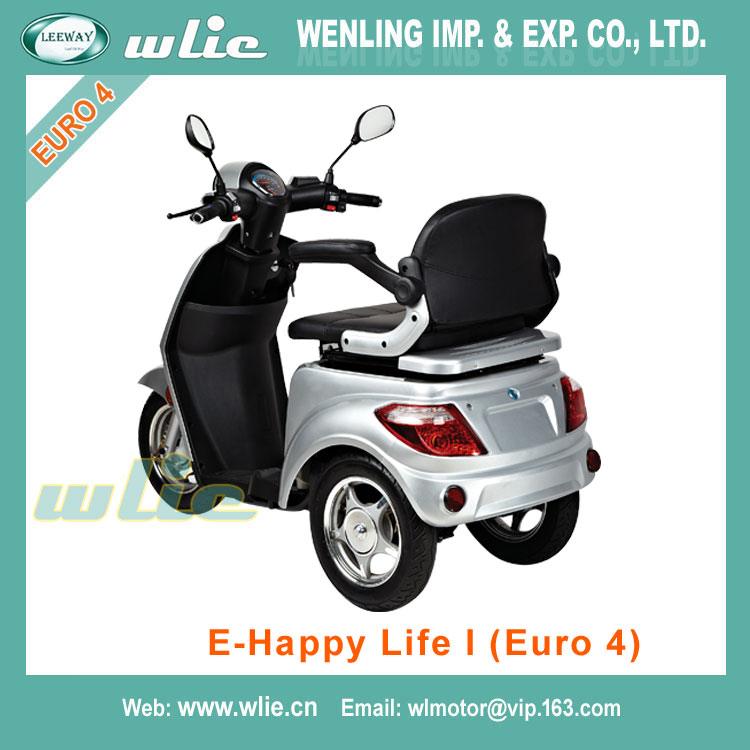 OEM Factory cheap electric moped lithium battery scooter cars 800W 3 wheel with Euro 4 EEC COC (E-Happy Life I)