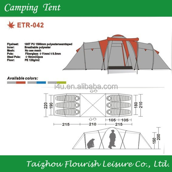 Trail 10-Person 3-Room XL Family Cabin Tent with carry bag