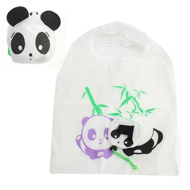 1 PC Eco Travel Foldable Handbags Bear Cat Pig Duck Panda Grocery Tote Storage Reusable Animal Shopping Bags