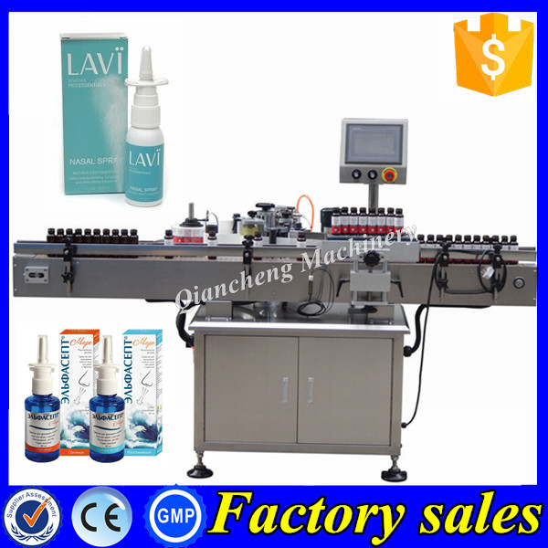 PLC controlled sticker labeling machine,nasal spray bottle label applicator
