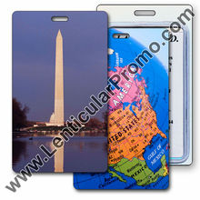 Lenticular Promotional 3D Luggage Travel Tag with changing images of the Washington Monument in D.C. and a Map of North America