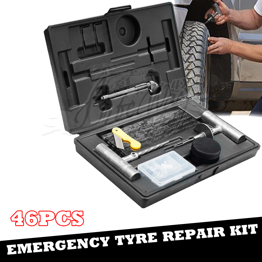 46PCS Tyre Repair Kit, Truck Car Motorcycle Tool kit, Heavy dutty 4wd Offroad Plugs Tubeless